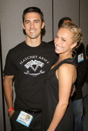 "Rumors of a relationship between Milo Ventimiglia (29) and her ""Heroes"" co-star Hayden Panettiere first started after an Emmy party in 2007 when she was only 17. The two came forward with their relationship after her 18th birthday. (Photo: WENN)"
