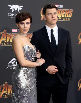 "Scarlett Johansson and SNL star Colin Jost were first romantically linked in May 2017, when they were spotted kissing at the show's season finale party. The two made their red carpet debut as a couple at the ""Avengers: Infinity War"" premiere. (Photo: WENN)"