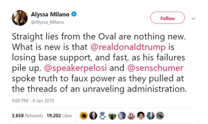 "Actress Alyssa Milano called Trump's border security address ""straight lies from the oval."" (Photo: Twitter)"