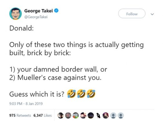 The actor also said Mueller's case against Trump is the one thing actually getting built. (Photo: Twitter)