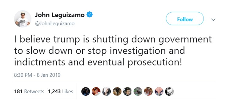 John Leguizamo accused Trump of distracting the attention from the investigation against him. (Photo: Twitter)