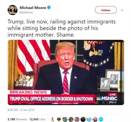 Michael Moore pointed out that Donald Trump's mother herself was also an immigrant. (Photo: Twitter)