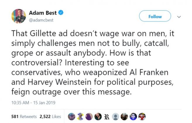 Filmmaker Adam Best took to Twitter to share his opinion on the new Gillette ad. (Photo: Twitter)