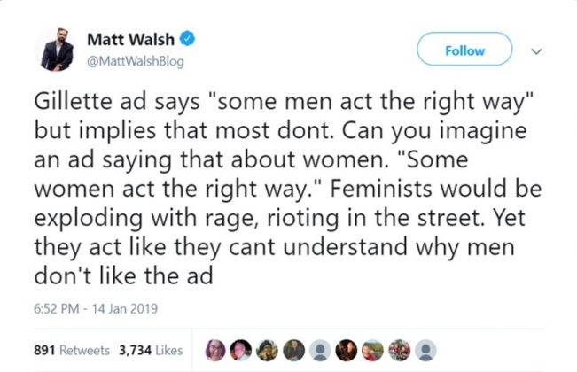 Writer Matt Walsh says the Gillette ad implies most men don't act the right way. (Photo: Twitter)