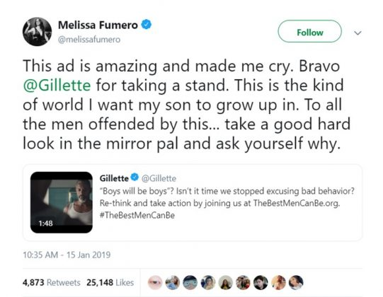 Brooklyn 99 star Melissa Fumero celebrated Gillette for taking a stand. (Photo: Twitter)