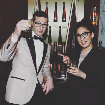 Andy Samberg and Sandra Oh took a celebratory picture following successful night as this year's Golden Globe's co-hosts. (Photo: Instagram)