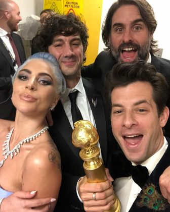 Immediately after winning Best Original song, the song's collaborators, Lady Gaga, Mark Ronson, Andrew Wyatt and Anthony Rossomando, shared this selfie. (Photo: Instagram)