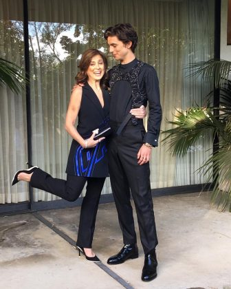 "The ""Beautiful Boy"" star Timothée Chalamet was a beautiful son when he showed up for the Golden Globes with his mommas. (Photo: Instagram)"