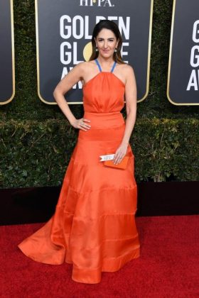 D'Arcy Carden wore an ill-fitting orange gown complete with blue halter straps. A look we're sure wouldn't be allowed in The Good Place. (Photo: WENN)