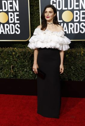 Rachel Weisz needed three giant scrunchies to hold her dress up. (Photo: WENN)