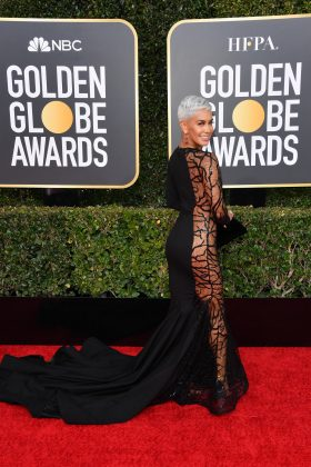 Sibley Scoles wasn't afraid to bare it all at the Golden Globes 2019 red carpet. We kind of wish she had been. (Photo: WENN)