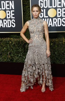 According to Page Six, Kate Mara was overheard telling Emily Blunt at the 2019 Golden Globes that she is pregnant. (Photo: WENN)