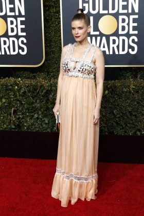 Kate Mara wore an empire line gown, disguising any signs of a bump. (Photo: WENN)