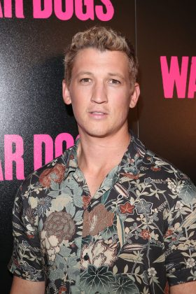 """Miles Teller at the 2016 film premiere of his movie """"War Dogs."""" (Photo: WENN)"""