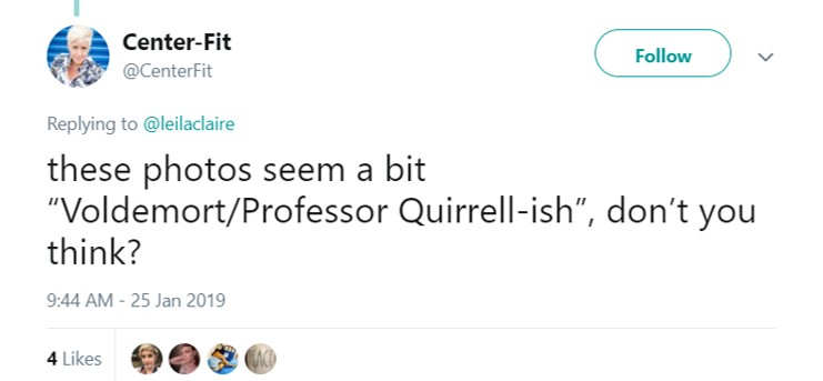 I'm distinctly reminded of Professor Quirrel, for some reason… (Photo: Twitter)