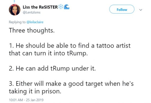 It shouldn't be hard to turn that Nixon tat into Trump. They're not that different after all. (Photo: Twitter)