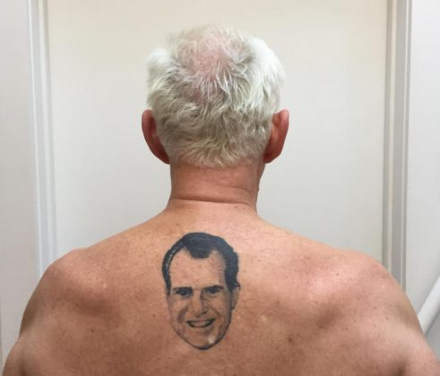 Click through our photo gallery to see the best reactions to Roger Stone's Nixon tattoo. This ink is amusing—but now it is also an omen. (Photo: Twitter)