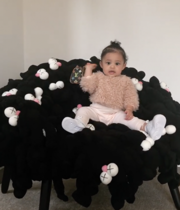 Stormi Webster received a $2000 mini Louis Vuitton bag from auntie Kim Kardashian! (Photo: Instagram)
