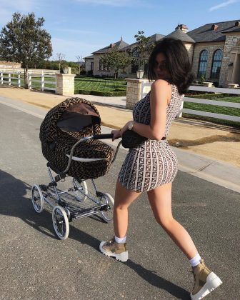 Kylie Jenner took daughter Stormi out in a $12,500 for the runway-ready stroller. (Photo: Instagram)