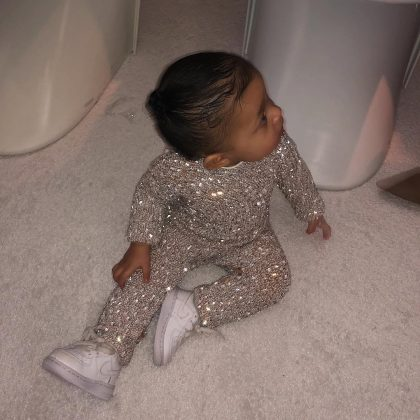 Stormi Webster wore a custom Yousef Aljasmi look that made her look like an extremely chic disco ball. (Photo: Instagram)