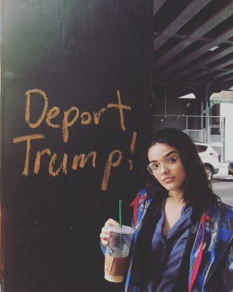 "She's a gun control activist. Rachel has shared a number of posts to support the March For Our Lives movement and stand with immigrants. ""Protect kids, not guns,"" she wrote on Instagram. In another, she posed with a ""Deport Trump"" graffiti. (Photo: Instagram)"