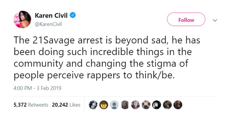 21 Savage's arrest is no coincidence y'all. (Photo: Twitter)