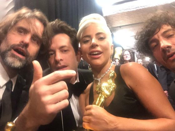 3 men and a Lady celebrating their Oscar win for 'Shallow.' (Photo: Instagram)