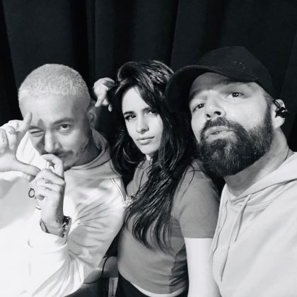 """I feel so thankful for these two fellas,"" said Camila Cabello of J Balvin and Ricky Martin, with whom she performed live at the Grammys. (Photo: Instagram)"