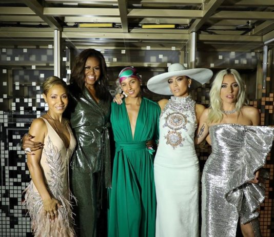 Michelle Obama posed alongside Jada Pinkett, Jennifer Lopez and Lady Gaga as she attended the 2019 Grammys to support her girl Alicia Keys. (Photo: Instagram)