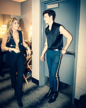 "Miley Cyrus and Shawn Mendes getting ready for their show-stopping performance of ""In My Blood"" at the 2019 Grammys. (Photo: Instagram)"