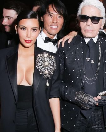 "Kim Kardashian recalled the first time she worked with Karl. ""You shot my first fashion shoot and I was so nervous to work with such an icon! The world is so much chicer because you existed! I am beyond honored to have met you."" (Photo: Instagram)"