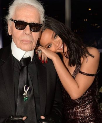 "Rihanna took to Instagram to share a series of pictures posing alongside the famed designer, whom she called ""The Godfather."" (Photo: Instagram)"
