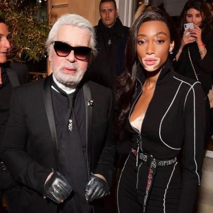 "Model Winnie Harlow shared the story of how she met Karl Lagerfeld. ""You told me you knew who I was and that the grace I walked with reminded you of a young Naomi Campbell. Wow... those words will ring in my head forever."" (Photo: Instagram)"