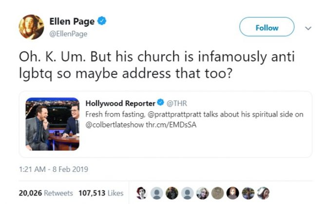 Ellen Page took to social media after Pratt talked about his religious-inspired fast on the 'Late Show' with Stephen Colbert. (Photo: Twitter)