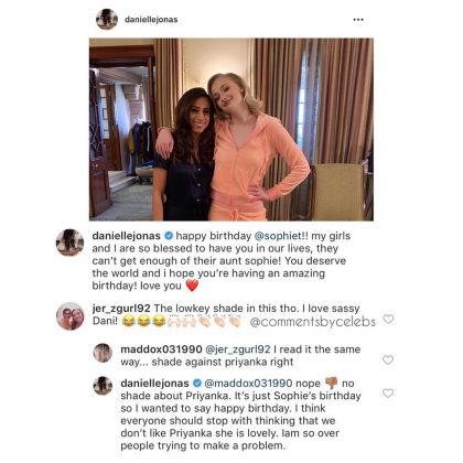 Mrs. Jonas, however, explained her post was not meant as a diss toward Chopra. (Photo: Instagram)