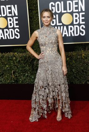 Emily hit the Golden Globes 2019 red carpet looking absolutely gorgeous in a Victorian-inspired head-to-toe lace dress by Alexander McQueen. (Photo: WENN)