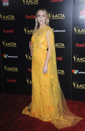 Emily Blunt brightened up the room wearing a neon-tinged green and pink Elie Saab gown at the 2019 Variety's Creative Impact Awards. (Photo: WENN)