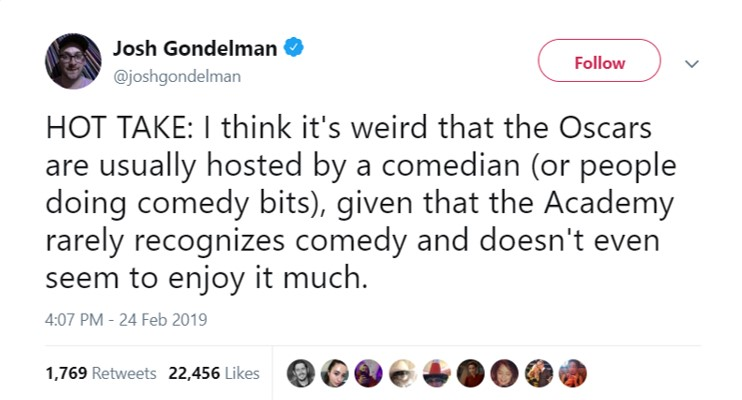 It fits in how a lot of people view comedy as a service more than an art form. (Photo: Twitter)
