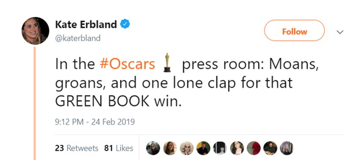 In the Oscars press room, and in every home streaming the ceremony. (Photo: Twitter)