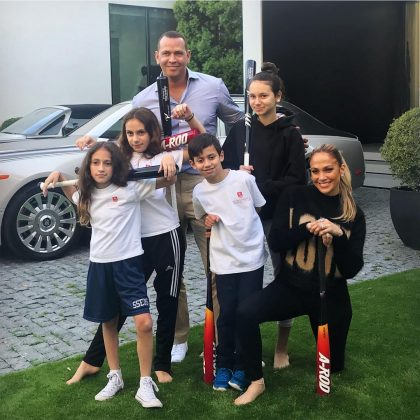 Alex Rodriguez, Jennifer Lopez, and their children during a Mother's Day baseball match. (Photo: Instagram)