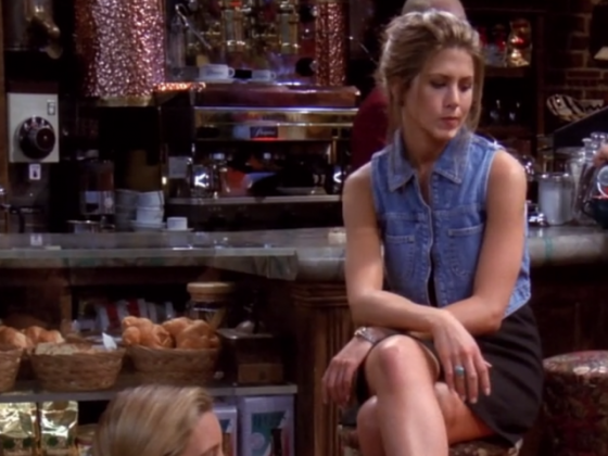 Rachel wore many cropped tops throughout the series. But this denim version is one of her most memorable looks. (Photo: Release)