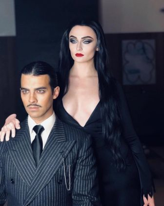 "Sophie and Joe turned into Morticia and Gomez of the ""The Addams Family"" for Halloween 2018. (Photo: Instagram)"