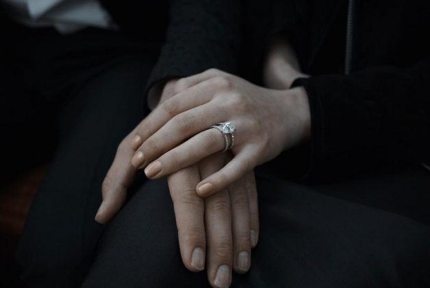 Sophie and Joe announced their engagement on social media with this coordinated post showing off her beautiful diamond ring. (Photo: Instagram)