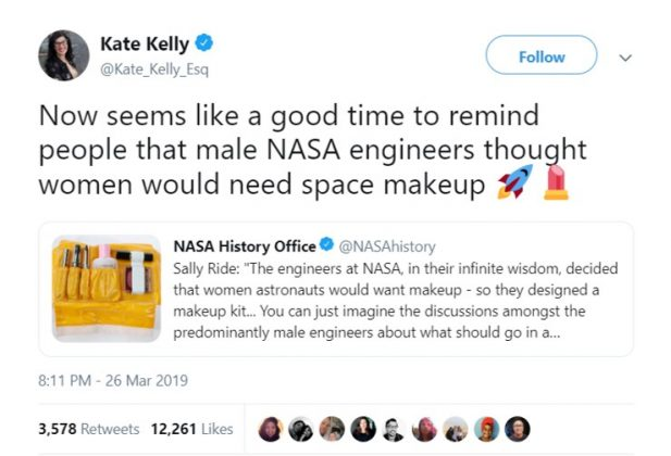 Next time how about you design a spacesuit for women and not a makeup kit? Just a thought. (Photo: Twitter)