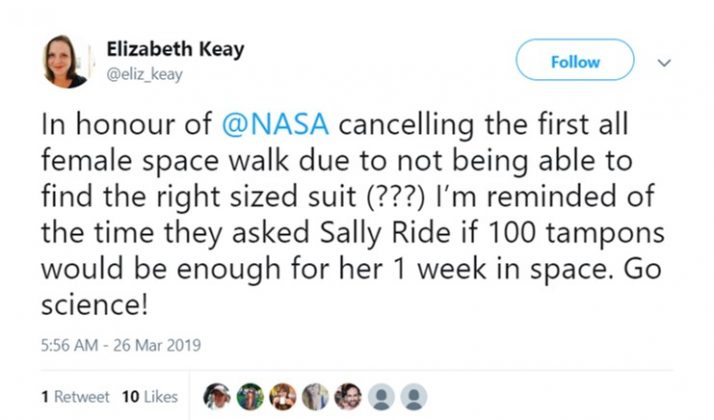 1 billion tampons up there but only one medium sized spacesuit. (Photo: Twitter)