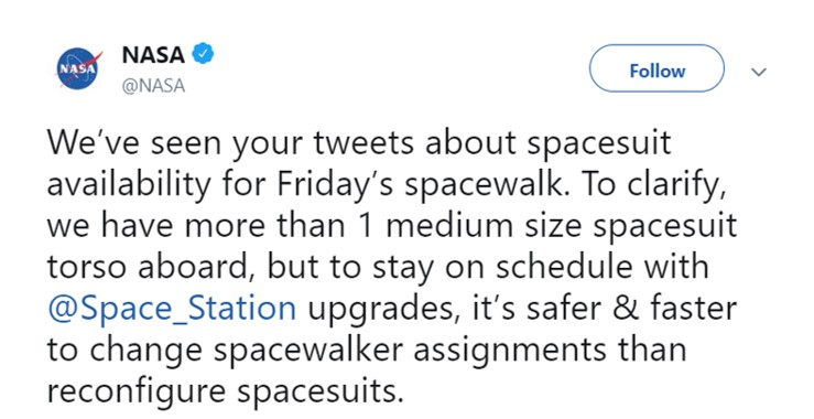 Sorry, NASA, but I would've hoped an agency that can plan a moon landing could plan in advance to have configured suits for a history spacewalk. Do better. (Photo: Twitter)