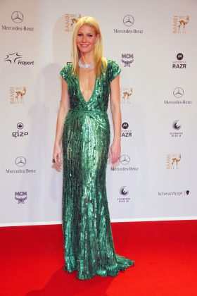 Gwyneth Paltrow shined at the red carpet of the Bambi award in a sparkling sequined-covered Elie Saab dress. (Photo: WENN)