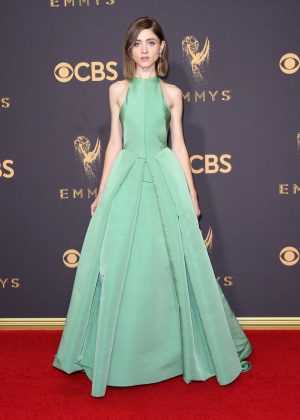 Natalia Dyer was in a mint green dress designed BY Dolce & Gabbana at the Emmy Awards 2017 red carpet. (Photo: WENN)