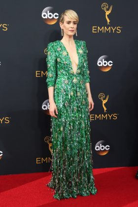 Sarah Paulsson became an Emmy winner at the 2016 ceremony while wearing a plunging Prada emerald-green dress. (Photo: WENN)