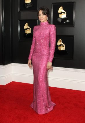 Camila turned heads in a full-length sparkling pink dress at the 2019 Grammys red carpet. (Photo: WENN)
